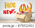 3d rendering of cardboard box filled with white red megaphones with 'Hot news' sign on white wooden floor background 67652401