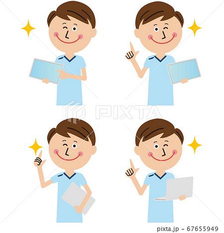 ポップな理学療法士・作業療法士・言語聴覚士の男性がPCやタブレットで説明 67655949