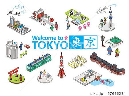 ようこそ、東京へ。東京の観光名所イメージイラスト。アイソメトリック 等尺性 67656234