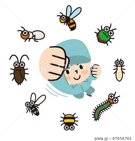 害虫を撃退する男性作業員 67656763