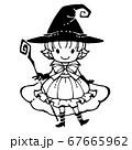 魔女の線画イラスト 67665962