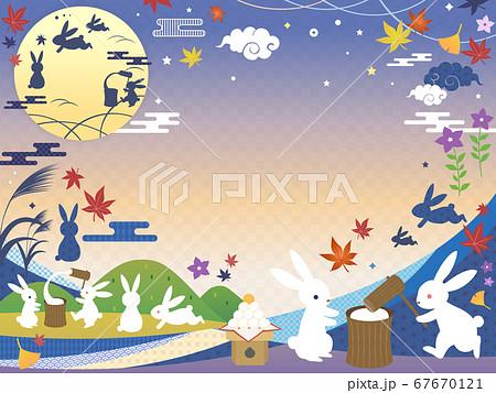 秋のお月見の背景フレーム 67670121
