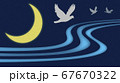 三日月と3羽の鳥 67670322