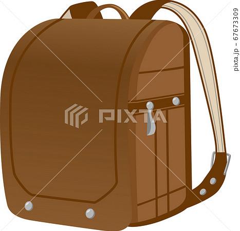 革製ランドセル(茶色)のイメージイラスト 67673309