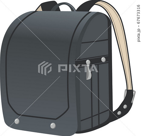 革製ランドセル(黒色)のイメージイラスト 67673316