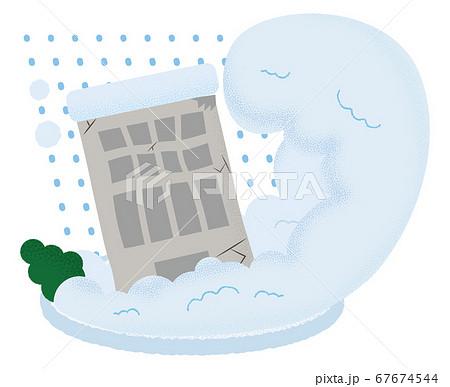 雪崩の被害を受けるビルのベクターイラスト 67674544
