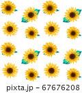 ヒマワリの花の総柄素材 67676208