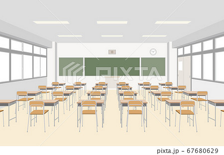 小学校の教室を正面からみたイラスト 67680629