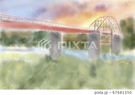 夕焼けと天狗橋のイラスト 67681350