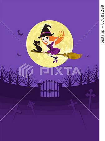 ハロウィン 空飛ぶ魔女と黒猫 墓場背景 縦 A4比率 67683299