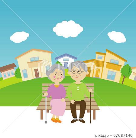 仲良しなシニア夫婦とベンチのイラストイメージ 67687140