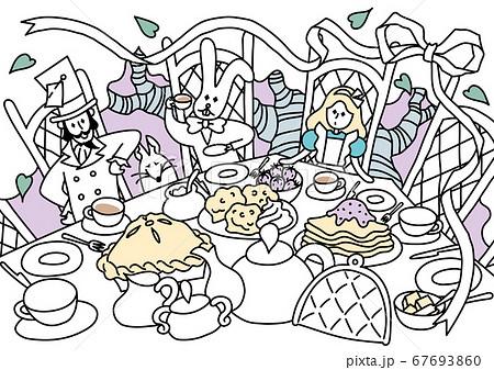 不思議の国のアリスのお茶会 カラーのイラスト素材