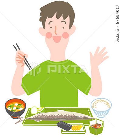 秋刀魚定食と男性 67694017