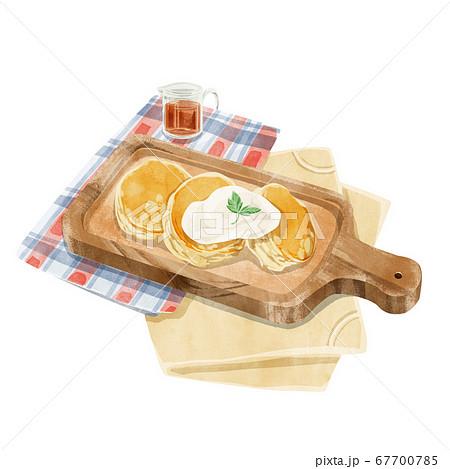 ふわふわパンケーキ水彩風イラスト 67700785