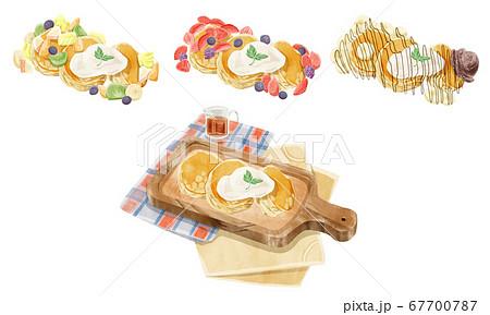 フワフワパンケーキ4種イラストセット 67700787
