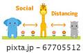 ソーシャルディスタンスをとる動物たち こども向け イラスト 67705512