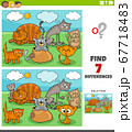 differences educational game with cats group 67718483