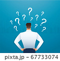 back view of businessman looking at  question marks vector illustration  67733074