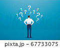 back view of businessman looking at  question marks vector illustration  67733075