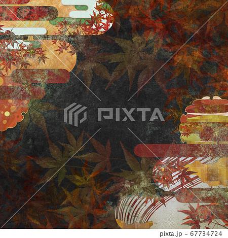 和紙の風合いを感じる背景イラスト-秋、紅葉の季節感【1:1】 67734724