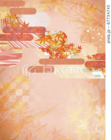 和紙の風合いを感じる背景イラスト-秋、紅葉の季節感【4:3】 67734745