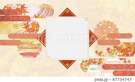 和紙の風合いを感じる背景イラスト-秋、紅葉の季節感【16:9】 67734747