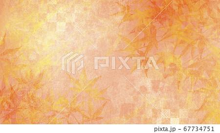 和紙の風合いを感じる背景イラスト-秋、紅葉の季節感【16:9】 67734751