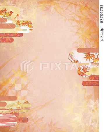 和紙の風合いを感じる背景イラスト-秋、紅葉の季節感【4:3】 67734753