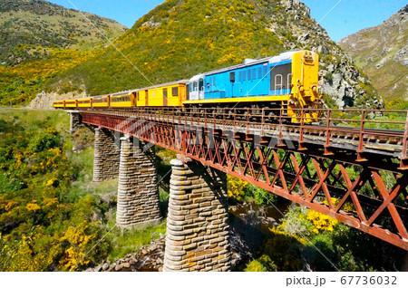渓谷を渡るニュージーランドタイエリ渓谷鉄道 67736032