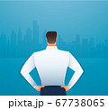Back view of standing man in a formal clothes vector illustration  67738065