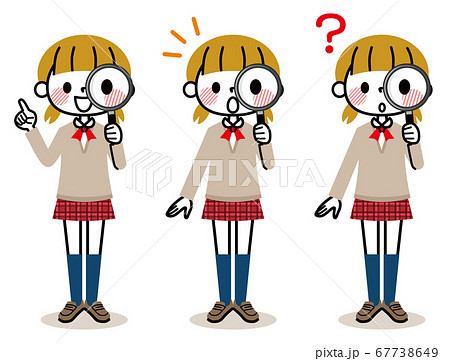 女子学生 虫メガネ セット 67738649