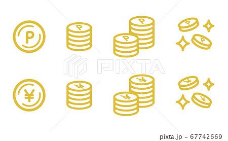 ポイントとお金のアイコンのセット/コイン/硬貨/円 67742669