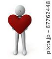 大きなハートマークを抱えるキャラクター。それは誠意を表す。3Dレンダリング 67762448