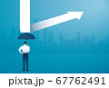 businessman use umbrella to protecting arrow down vector illustration 67762491