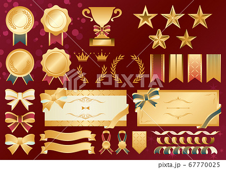 メダル リボン 星 フレーム ビンテージ イラスト素材セット 67770025