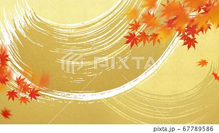 金箔の波と紅葉の背景 67789586