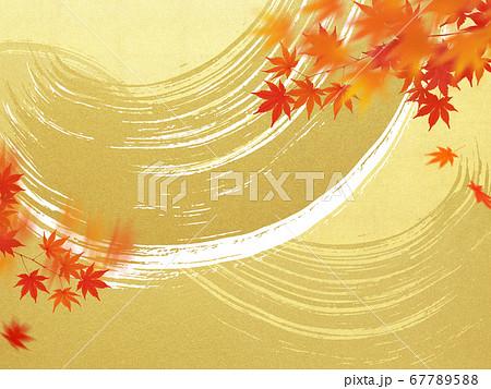 金箔の波と紅葉の背景 67789588