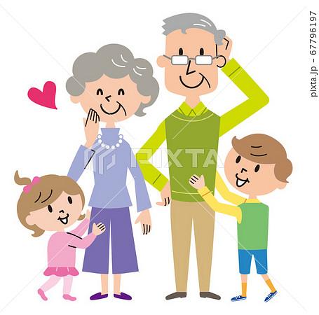 祖父母 孫たち イラスト  67796197