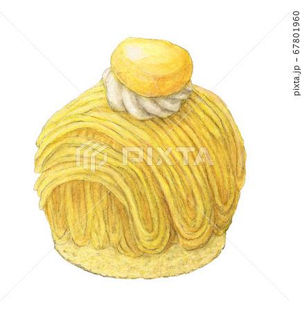 懐かしのモンブラン 水彩色えんぴつ画 67801960