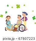 女性介護職員と車椅子のおじいさんの会話 67807223