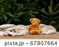 Little teddy bear toy and scarf on wooden table 67807664