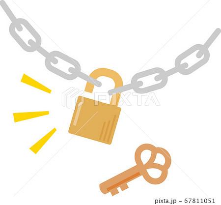 開いた錠前と鎖 67811051