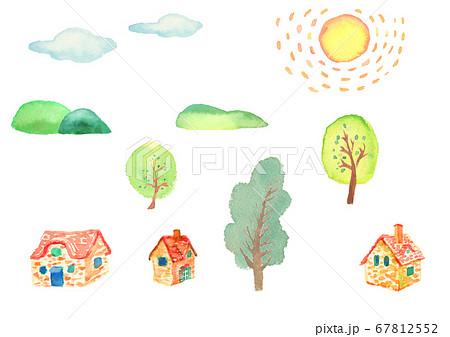 水彩で描いた田舎の町のイラストセット 67812552