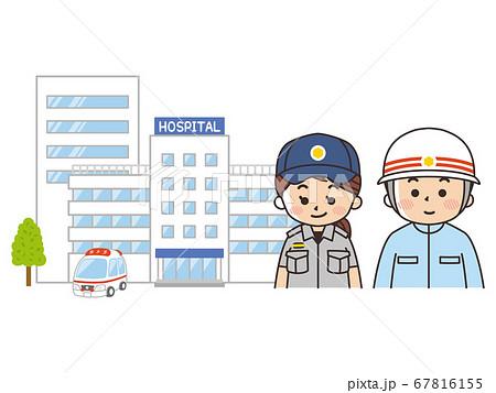 総合病院と救急車と救急救命士 67816155