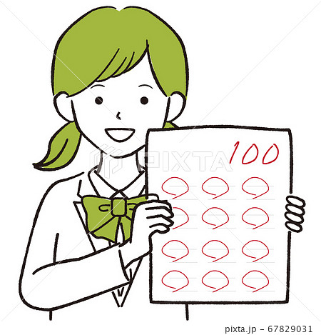 手描き1color 制服の学生の女の子 おさげ 100点 67829031