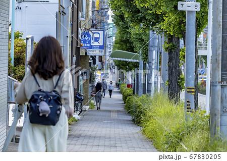 駅に向かって街路樹の立ち並ぶ狭い歩道を歩く女性 67830205