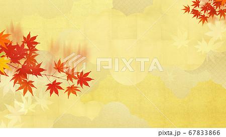 秋の紅葉と金箔の和風素材 67833866