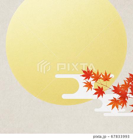 満月と紅葉の背景 67833993