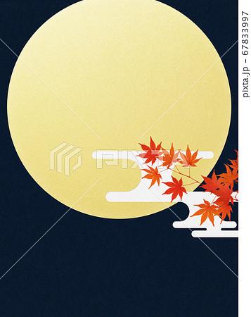 満月と紅葉の背景 67833997