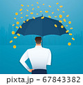 Business man holding an umbrella, money falling from the sky. concept of success. vector illustration 67843382
